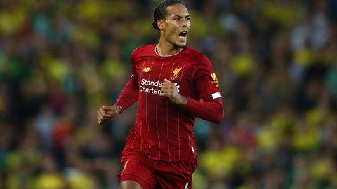 <p>               Liverpool's Virgil van Dijk celebrates after scoring his side's third goal during the English Premier League soccer match between Liverpool and Norwich City at Anfield in Liverpool, England, Friday, Aug. 9, 2019. (AP Photo/Dave Thompson)             </p>