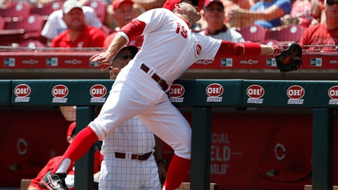 <p>               Cincinnati Reds first baseman Joey Votto leans into the dugout to catch a foul ball off the bat of Chicago Cubs' Anthony Rizzo during the first inning of a baseball game, Sunday, Aug. 11, 2019, in Cincinnati. (AP Photo/Gary Landers)             </p>