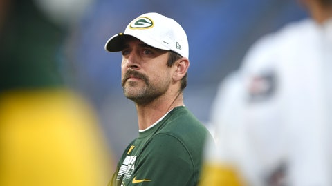 <p>               Green Bay Packers quarterback Aaron Rodgers looks on from the sideline during the first half of a NFL football preseason game against the Baltimore Ravens, Thursday, Aug. 15, 2019, in Baltimore. (AP Photo/Gail Burton)             </p>