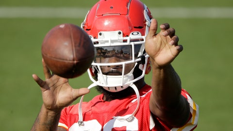 <p>               Kansas City Chiefs running back Damien Williams catches a ball during NFL football training camp Saturday, July 27, 2019, in St. Joseph, Mo. (AP Photo/Charlie Riedel)             </p>
