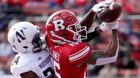 "<p>               FILE - In this Oct. 20, 2018 file photo, Northwestern cornerback Montre Hartage, left, deflects a pass as Rutgers wide receiver Shameen Jones tries to make the catch in the end zone during the second half of an NCAA college football game in Piscataway, N.J. New Jersey's flagship university has asked a high school in northern Louisiana to change its logo because it's identical to the block ""R'' that Rutgers has trademarked. (AP Photo/Julio Cortez, File)             </p>"