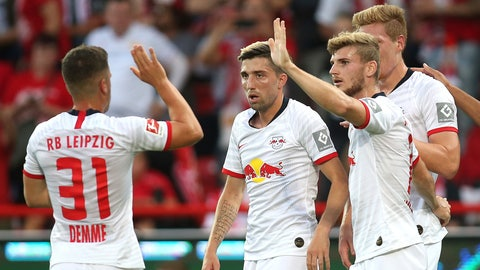 <p>               From left, Leipzig's Diego Demme, Kevin Kampl, Timo Werner, Marcel Halstenberg celebrate a goal, during the German Bundesliga soccer match between Union Berlin and RB Leipzig, in Berlin, Sunday, Aug. 18, 2019. (Andreas Gora/dpa via AP)             </p>