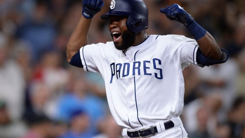 <p>               San Diego Padres' Manuel Margot celebrates after hitting a two-run home run during the eighth inning of a baseball game against the Colorado Rockies, Saturday, Aug. 10, 2019, in San Diego. (AP Photo/Orlando Ramirez)             </p>