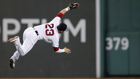 <p>               Boston Red Sox second baseman Michael Chavis (23) makes a diving catch of a fly ball by Kansas City Royals' Hunter Dozier during the eighth inning of a baseball game at Fenway Park in Boston, Tuesday, Aug. 6, 2019. (AP Photo/Charles Krupa)             </p>
