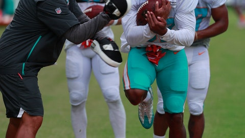 <p>               Miami Dolphins running back Kenyan Drake runs drills at the teams NFL football training camp, Thursday, Aug. 1, 2019 in Davie, Fla. (AP Photo/Wilfredo Lee)             </p>