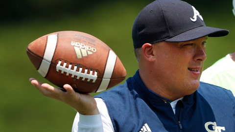 <p>               Georgia Tech head coach Geoff Collins works with his kick returners during the team's first preseason NCAA college football practice Wednesday, July 31, 2019, in Atlanta. (AP Photo/John Bazemore)             </p>