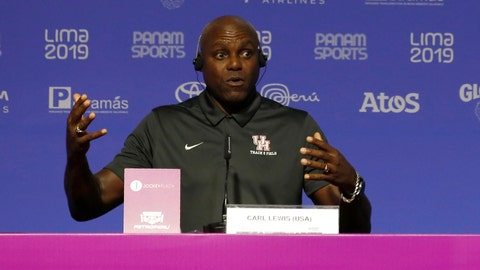 <p>               Nine-time Olympic gold medalist Carl Lewis, from the United States, speaks during a press conference during the Pan American Games in Lima, Peru, Monday, Aug. 5, 2019. Lewis said that if it wasn't for his mother, who competed in the first Pan Am Games in 1951, he would have never chosen athletics. (AP Photo/Moises Castillo)             </p>