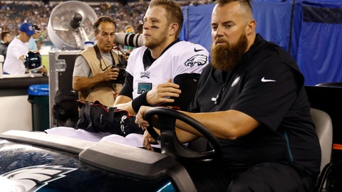 <p>               Philadelphia Eagles' Nate Sudfeld is driven off the field after an injury during the first half of the team's preseason NFL football game against the Tennessee Titans, Thursday, Aug. 8, 2019, in Philadelphia. (AP Photo/Michael Perez)             </p>