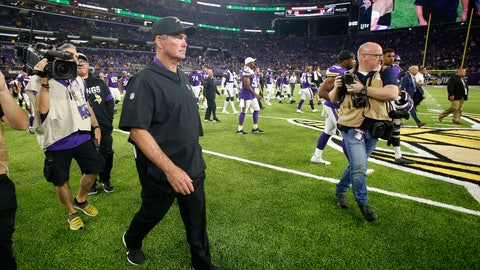 <p>               Minnesota Vikings head coach Mike Zimmer walks off the field after an NFL preseason football game against the Seattle Seahawks, Sunday, Aug. 18, 2019, in Minneapolis. The Vikings won 25-19. (AP Photo/Bruce Kluckhohn)             </p>