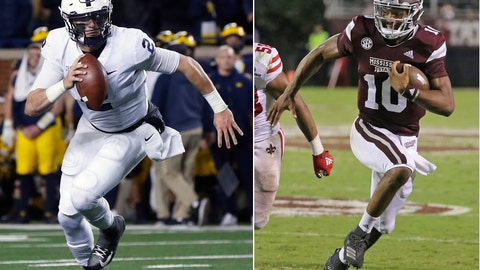 <p>               FILE - At left, in a Nov. 3, 2018, file photo, then-Penn State quarterback Tommy Stevens (2) runs against Michigan in the second half of an NCAA college football game in Ann Arbor, Mich. At right, in a Sept. 15, 2018, file photo, Mississippi State quarterback Keytaon Thompson (10) sprints to the end zone for a touchdown against Louisiana-Lafayette during the second half of their NCAA college football game in Starkville, Miss. The main story of Mississippi State's preseason camp isn't hard to find. It's a two-man quarterback competition between last year's backup Keytaon Thompson and Penn State transfer Tommy Stevens. The winner will be expected to improve the Bulldogs' passing offense, which was inconsistent on good days and downright awful on the bad ones last season. (AP Photo/File)             </p>