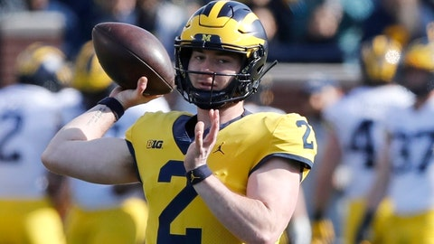 <p>               FILE- In this April 13, 2019, file photo, Michigan quarterback Shea Patterson throws during Michigan's annual spring NCAA college football game in Ann Arbor, Mich. Patterson returns for a second season after transferring from Mississippi. The dual-threat standout will play behind four returning starters in a new-look offense featuring a trio of talented receivers. (AP Photo/Carlos Osorio)             </p>