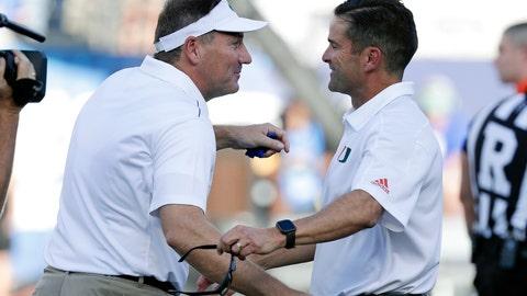 <p>               Florida coach Dan Mullen, left, greets Miami coach Manny Diaz before an NCAA college football game Saturday, Aug. 24, 2019, in Orlando, Fla. (AP Photo/John Raoux)             </p>