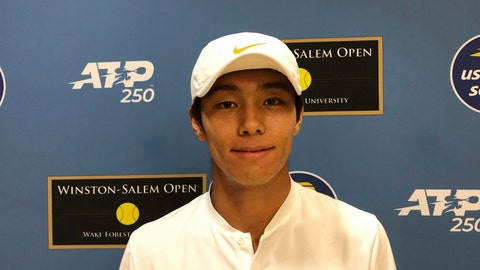 <p>               Tennis player Duckhee Lee, of South Korea, poses following his tennis match, Monday, Aug. 19, 2019, at the Winston-Salem Open in Winston-Salem, N.C. Lee became the first deaf professional to play in an ATP-level tennis tournament. (AP Photo/Joedy McCreary)             </p>