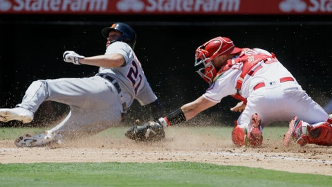 <p>               Detroit Tigers' JaCoby Jones, left, slides into home to avoid a tag by Los Angeles Angels catcher Jonathan Lucroy on a single by Niko Goodrum during the third inning of a baseball game in Anaheim, Calif., Wednesday, July 31, 2019. (AP Photo/Alex Gallardo)             </p>
