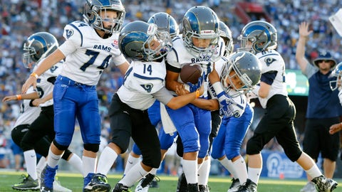 <p>               FILE- In this Aug 13, 2016, file photo, youngsters play in a pee-wee football game during halftime of a preseason NFL football game between the Los Angeles Rams and the Dallas Cowboys in Los Angeles. USA Football is piloting the sport's first long-term development program in the hopes of growing the game and catching up to other sports around the world. The sport's governing body has launched its Football Development Model. Six youth leagues will team up with USA Football in the hopes of attracting more young players and improving skills. The leagues will experiment with new ways to coach fundamentals in practice and different ways to play the game. (AP Photo/Ryan Kang, File)             </p>