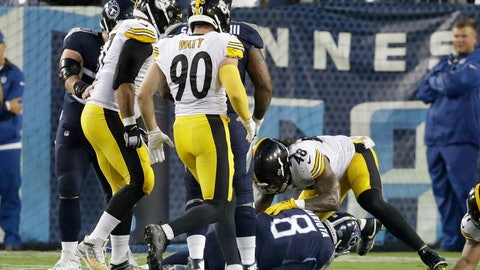 <p>               Tennessee Titans quarterback Marcus Mariota (8) is sacked in the end zone by the Pittsburgh Steelers defense, including Bud Dupree (48), for a safety in the first half of a preseason NFL football game Sunday, Aug. 25, 2019, in Nashville, Tenn. (AP Photo/James Kenney)             </p>