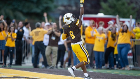 <p>               Wyoming running back Xazavian Valladay celebrates a touchdown run against Missouri during the second quarter of an NCAA college football game Saturday, Aug. 31, 2019, in Laramie, Wy. (AP Photo/Michael Smith)             </p>