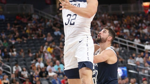 <p>               Team White guard Pat Connaughton (32) goes up for a shot against pressure from Team Blue guard Joe Harris (47) during the first half of the U.S. men's basketball team's scrimmage in Las Vegas, Friday, Aug. 9, 2019. (Erik Verduzco/Las Vegas Review-Journal via AP)             </p>