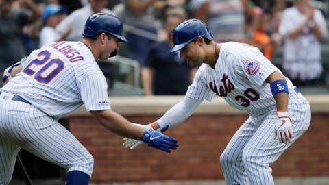 <p>               New York Mets' Michael Conforto, right, is greeted by teammate Pete Alonso after hitting a solo run home run against the Miami Marlins in the seventh inning of a baseball game, Wednesday, Aug. 7, 2019 in New York. (AP Photo/Mark Lennihan)             </p>