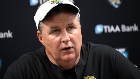 "<p>               FILE - In this Aug. 8, 2019, file photo, Jacksonville Jaguars head coach Doug Marrone talks to reporters after an NFL football preseason game against the Baltimore Ravens in Baltimore. Jaguars running back Leonard Fournette insists he's made professional progress. Coach Doug Marrone is hesitant to agree. Marrone says ""we are going to see."" This much everyone is certain: Fournette's performance on and off the field will go a long way toward determining whether the Jaguars remain at the bottom of the AFC South or return to being conference contenders in 2019. (AP Photo/Nick Wass, File)             </p>"