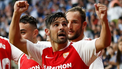 <p>               Sevilla's Nolito celebrates with team mates after scoring his side's second goal during the Spanish La Liga soccer match between Espanyol and Sevilla at the RCDE Stadium in Barcelona, Spain, Sunday Aug.18, 2019. (AP Photo/Joan Monfort)             </p>