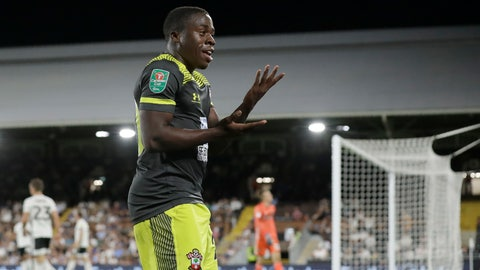 <p>               Southampton's Michael Obafemi celebrates scoring his side's first goal during the English League Cup second round soccer match between Fulham and Southampton at Craven Cottage stadium in London, Tuesday, Aug. 27, 2019. (AP Photo/Matt Dunham)             </p>