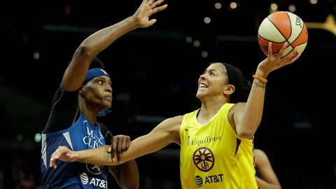 <p>               Minnesota Lynx center Sylvia Fowles, left, fouls Los Angeles Sparks forward Candace Parker during the second half of a WNBA basketball game in Los Angeles, Tuesday, Aug. 20, 2019. (AP Photo/Chris Carlson)             </p>
