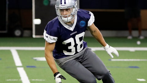 <p>               FILE - In this June 12, 2019, file photo, Dallas Cowboys strong safety Jeff Heath (38) participates in drills at the team's NFL football training facility in Frisco, Texas. Despite an offseason of talk about potential replacements, Jeff Heath and Xavier Woods are still the starting safeties for the Dallas Cowboys. (AP Photo/Tony Gutierrez, File)             </p>