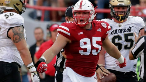 <p>               FILE- In this Sept. 8, 2018, file photo, Nebraska defensive lineman Ben Stille (95) celebrates a sack of Colorado quarterback Steven Montez during the second half of an NCAA college football game in Lincoln, Neb. The Nebraska defense is counting on Stille and his linemates as the 24th-ranked Cornhuskers try to rebound from a 4-8 record last year. (AP Photo/Nati Harnik, File)             </p>