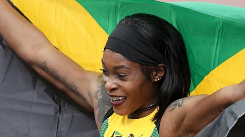 <p>               Elaine Thompson of Jamaica celebrates winning the gold medal in the women's 100m during the athletics at the Pan American Games in Lima, Peru, Wednesday, Aug. 7, 2019. (AP Photo/Martin Mejia)             </p>