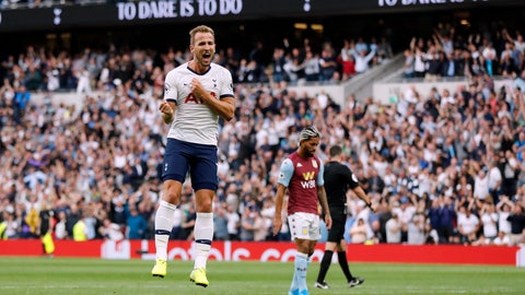 <p>               Tottenham's Harry Kane celebrates after scoring his side's third goal during the English Premier League soccer match between Tottenham Hotspur and Aston Villa at the Tottenham Hotspur stadium in London, Saturday, Aug. 10, 2019. (AP Photo/Frank Augstein)             </p>