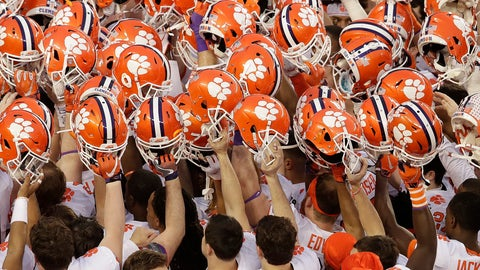 <p>               FILE - In this Jan. 7, 2019, file photo, Clemson players huddle before the NCAA college football playoff championship game against Alabama, in Santa Clara, Calif. For the first time, the defending national champion Tigers are No. 1 in The Associated Press preseason Top 25 presented by Regions Bank, Monday, Aug. 19, 2019. (AP Photo/Jeff Chiu, File)             </p>