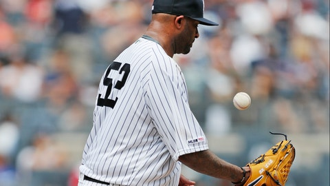 <p>               New York Yankees' starting pitcher CC Sabathia tosses the ball after allowing a three-run home run to Cleveland Indians' Mike Freeman during the second inning of a baseball game against the Cleveland Indians, Sunday, Aug. 18, 2019, in New York. (AP Photo/Kathy Willens)             </p>
