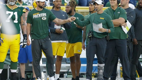 <p>               Green Bay Packers quarterback Aaron Rodgers and coach Matt LaFleur bump fists during the first half of the team's NFL preseason football game against the Houston Texans on Thursday, Aug. 8, 2019, in Green Bay, Wis. (AP Photo/Jeffrey Phelps)             </p>