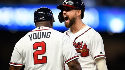 <p>               Atlanta Braves' Ender Inciarte shouts as coach Eric Young talks to him after Inciarte hit an RBI single during the seventh inning of the team's baseball game against the New York Mets, Wednesday, Aug.14, 2019, in Atlanta. (AP Photo/John Amis)             </p>