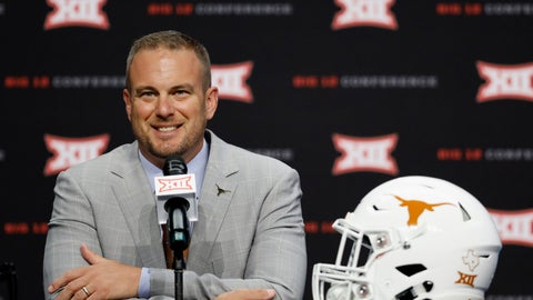 <p>               FILE - In this July 16, 2019, file photo, Texas head coach Tom Herman speaks during Big 12 Conference NCAA college football media day in Arlington, Texas. Herman has a problem at running back. He is having a hard time keeping them healthy. The No. 10 Longhorns head into their season-opener this week against Louisiana Tech with only two scholarship running backs available in sophomore Keaontay Ingram and Jordan Whittington. (AP Photo/David Kent, File)             </p>