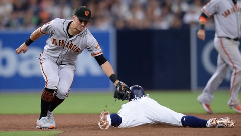 <p>               San Diego Padres' Greg Garcia, center, is caught stealing as San Francisco Giants second baseman Joe Panik, left, applies the tag during the sixth inning of a baseball game Saturday, July 27, 2019, in San Diego. (AP Photo/Orlando Ramirez)             </p>