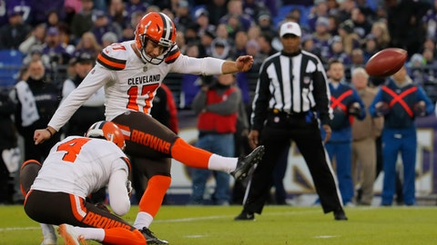 <p>               FILE - In this Dec. 30, 2018, file photo, Cleveland Browns' Greg Joseph (17) kicks a field goal as Britton Colquitt (4) holds in the first half of an NFL football game against the Baltimore Ravens in Baltimore. Browns coach Freddie Kitchens says there are no immediate plans to sign another kicker despite erratic performances by incumbent Greg Joseph and rookie Austin Seibert during training camp and exhibitions. (AP Photo/Carolyn Kaster, File)             </p>