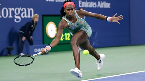 <p>               Coco Gauff, of the United States, chases down a shot from Timea Babos, of Hungary, during the second round of the U.S. Open tennis tournament in New York, Thursday, Aug. 29, 2019. (AP Photo/Charles Krupa)             </p>