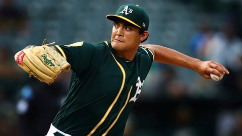 <p>               FILE - In this Aug. 13, 2018, file photo, Oakland Athletics pitcher Sean Manaea works against the Seattle Mariners in the first inning of a baseball game in Oakland, Calif. Manaea is scheduled to start Sunday, Sept. 1, 2019, for the Oakland at Yankee Stadium, his season debut after recovering from left shoulder surgery. (AP Photo/Ben Margot, File)             </p>