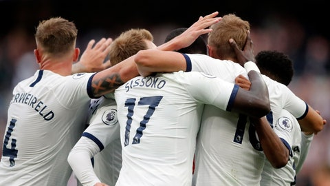 <p>               Tottenham's Harry Kane celebrates with teammates after scoring his side's third goal during the English Premier League soccer match between Tottenham Hotspur and Aston Villa at the Tottenham Hotspur stadium in London, Saturday, Aug. 10, 2019. (AP Photo/Frank Augstein)             </p>
