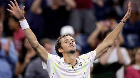 <p>               Daniil Medvedev, of Russia, raises his arms after defeating Feliciano Lopez, of Spain, during the third round of the U.S. Open tennis tournament early Saturday, Aug. 31, 2019, in New York. (AP Photo/Adam Hunger)             </p>