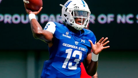 <p>               FILE - In this Sept. 8, 2018, file photo, Georgia State quarterback Dan Ellington passes during the first half of an NCAA college football game in Raleigh, N.C. Georgia State plays at Tennessee on Saturday. (AP Photo/Chris Seward, File)             </p>