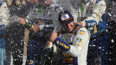 <p>               Chase Elliott celebrates his victory with his pit crew after winning a NASCAR Cup Series auto race at Watkins Glen International, Sunday, Aug. 4, 2019, in Watkins Glen, N.Y. (AP Photo/John Munson)             </p>