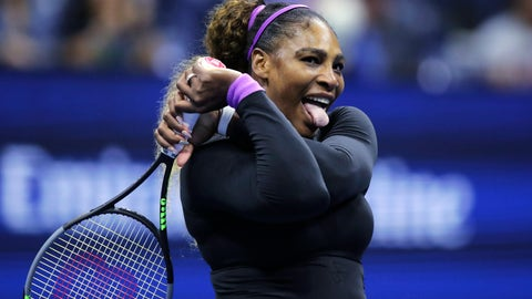 <p>               Serena Williams, of the United States, reacts after winning a point at the net against Caty McNally, of the United States, during the second round of the U.S. Open tennis tournament in New York, Wednesday, Aug. 28, 2019. (AP Photo/Charles Krupa)             </p>