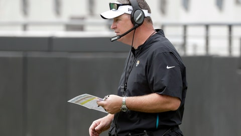 <p>               Jacksonville Jaguars head coach Doug Marrone watches his players on the field during an NFL football practice at the teams stadium, Friday, Aug. 2, 2019, in Jacksonville, Fla. (AP Photo/John Raoux)             </p>