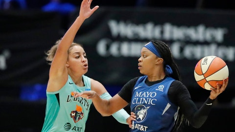 <p>               Minnesota Lynx guard Odyssey Sims, right, looks to pass with New York Liberty guard Bria Hartley defending during the first half of a WNBA basketball game Tuesday, Aug. 13, 2019, in White Plains, N.Y. (AP Photo/Kathy Willens)             </p>