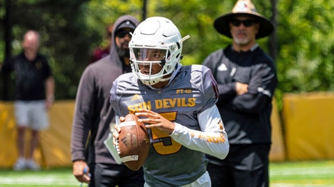 <p>               This Aug. 8, 2019, photo provided by Sun Devil Athletics shows Arizona State University freshman quarterback Jayden Daniels at practice in Payson, Ariz. Daniels will become the first Arizona State true freshman quarterback to start a season opener for the Sun Devils, as he won a four-man competition for the job. (Radmen Niven/Sun Devil Athletics via AP)             </p>