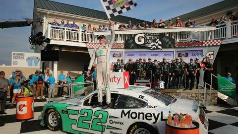 <p>               Austin Cindric celebrates after winning the NASCAR Xfinity Series auto race at Watkins Glen International, Saturday, Aug. 3, 2019, in Watkins Glen, N.Y. (AP Photo/John Munson)             </p>