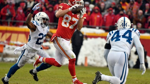 <p>               FILE - In this Jan. 12, 2019, file photo, Kansas City Chiefs tight end Travis Kelce (87) makes a catch in front of Indianapolis Colts cornerback Kenny Moore (23) during the first half of an NFL divisional football playoff game in Kansas City, Mo. Two-time All-Pro tight end Travis Kelce was spectacular in catches (103), yards receiving (1,336) and touchdowns (10) last season. (AP Photo/Ed Zurga, File)             </p>